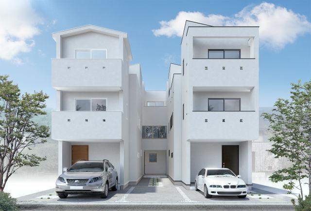 3棟建て住宅パース